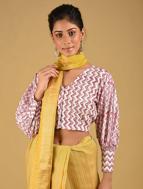 Red-White Block Printed Cotton Blouse