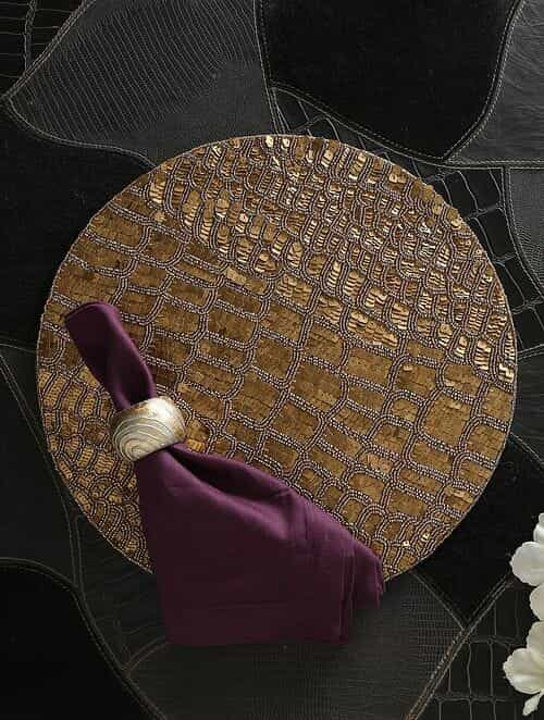 Gold Hand Beaded Placemat (Dia - 15in)