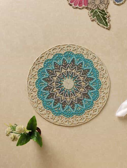 Teal Hand Beaded Placemat (Dia - 15in)