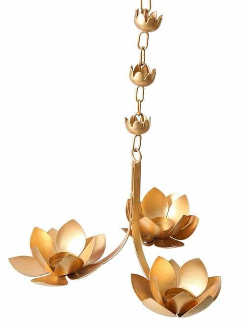 Matt Gold Iron Hanging Tealight With Lotus Design (L - 12.5in, W - 12.5in, H - 45in)