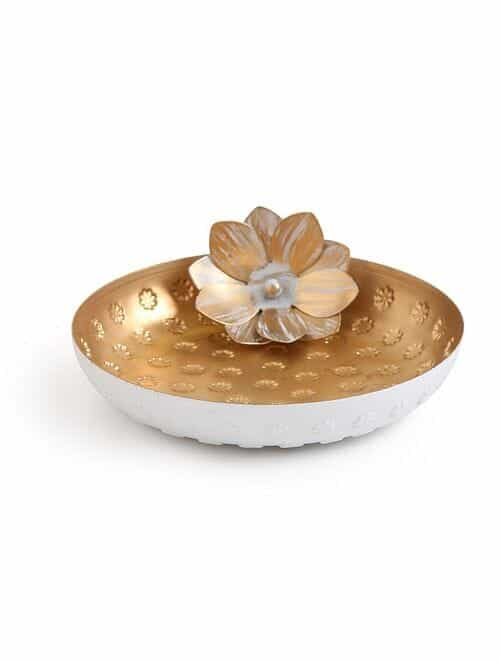 Matt Gold And White Iron Decorative Plate With Lotus (Dia - 7.25in, H - 2.25in)