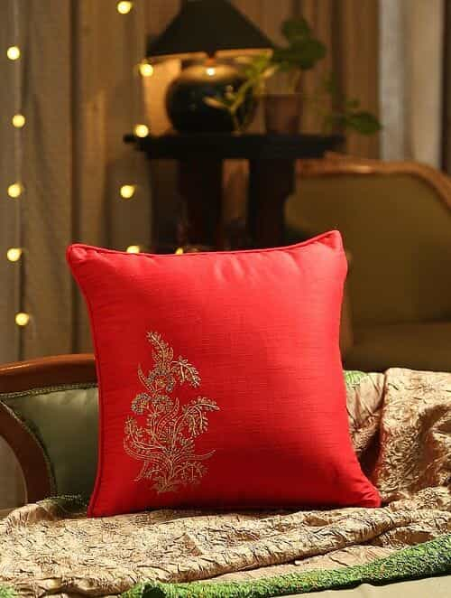 Red Hand Beaded And Embroided Cushion Cover (L - 16in, W - 16in)