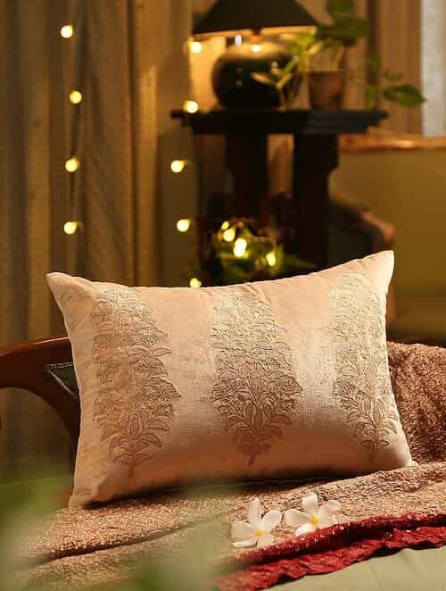 Beige Embroided Cushion Cover (L - 14in, W - 20in)