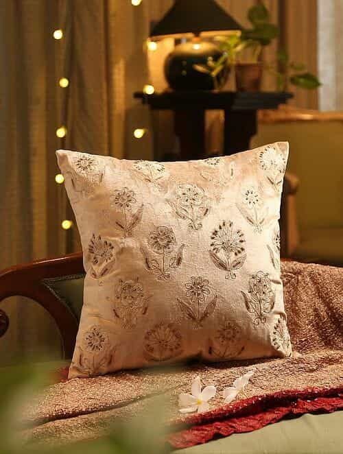 Beige Hand Beaded And Embroided Cushion Cover (L - 18in, W - 18in)