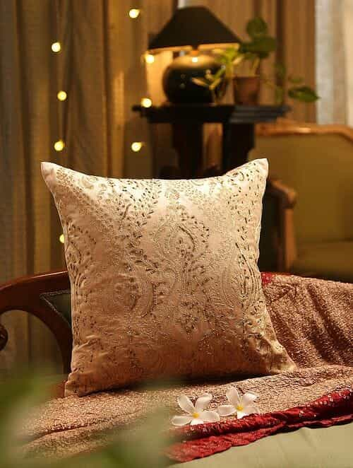 Beige Hand Beaded And Zari Embroided Cushion Cover (L - 18in, W - 18in)