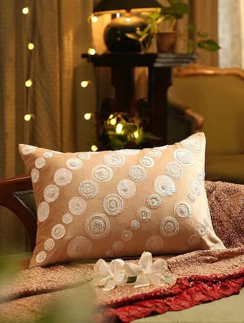 Beige Sequin Hand Beaded Cushion Cover (L - 14in, W - 20in)