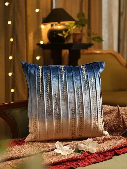 Blue Ombre Effect With  Hand Bead Work Cushion Cover (L - 18in, W - 18in)