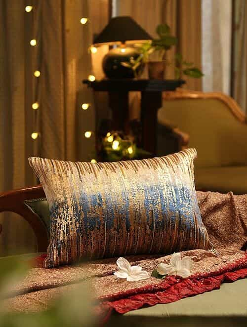 Blue Hand Bead Work And Foil Print Cushion Cover (L - 14in, W - 20in)