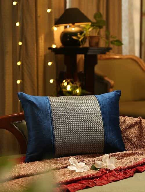 Blue Zari Embroidered Cushion Cover (L - 14in, W - 20in)