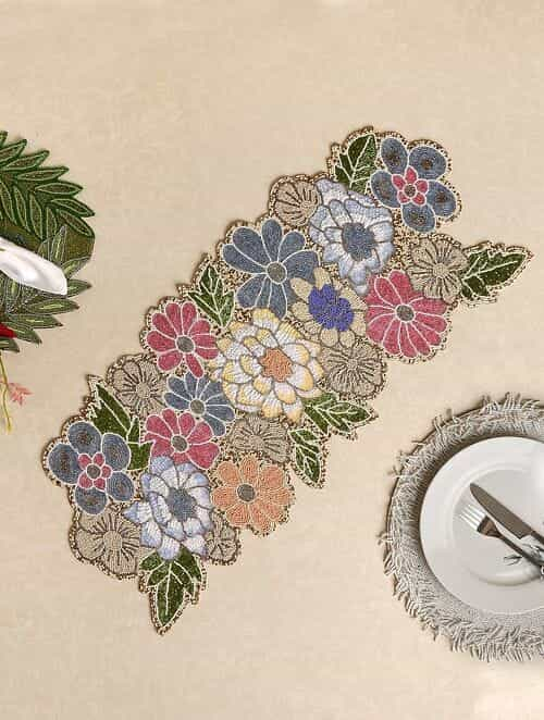 Multicolor Hand Beaded Table Runner (L - 32in, W - 15in)