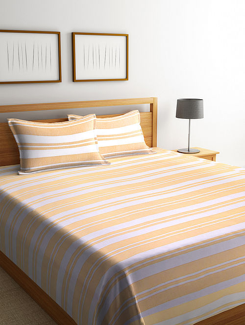 Mustard Cotton Double Bed Cover with Pillow Covers (Set of 3)