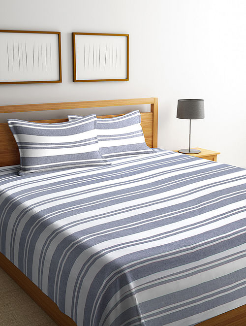 Grey Cotton Double Bed Cover with Pillow Covers (Set of 3)