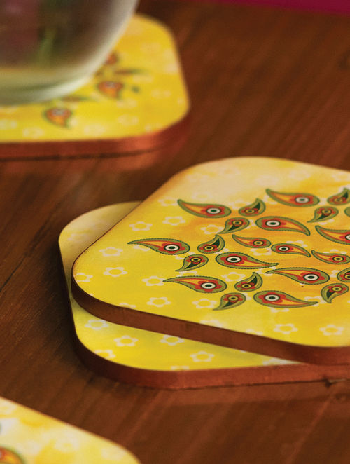 Yellow MDF Coasters (Length: 3.9in, Width: 3.7in)