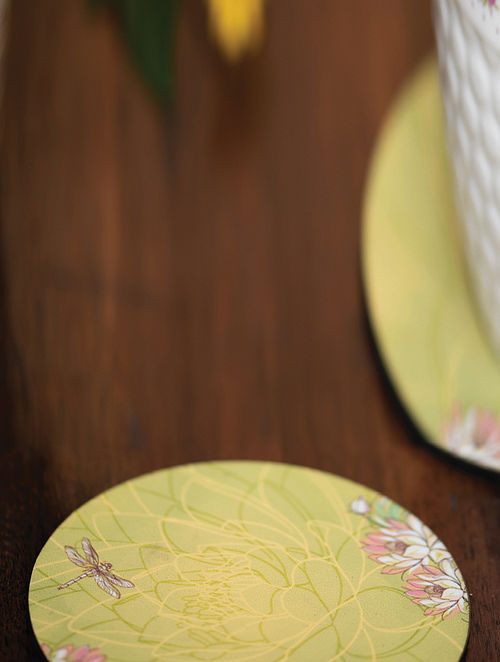 Green MDF Coasters (Set of 6) (L-3.9in, W-3.9in)