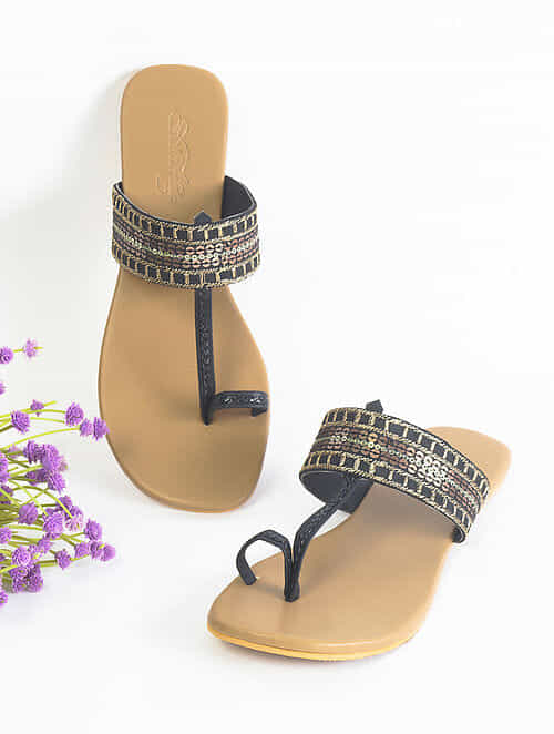 Black Handcrafted Faux Leather Kolhapuri Flats
