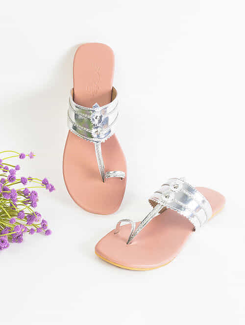 Silver Handcrafted Faux Leather Kolhapuri Flats