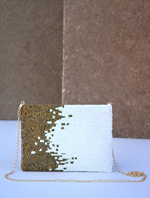 White Gold Handcrafted Beaded Silk Clutch