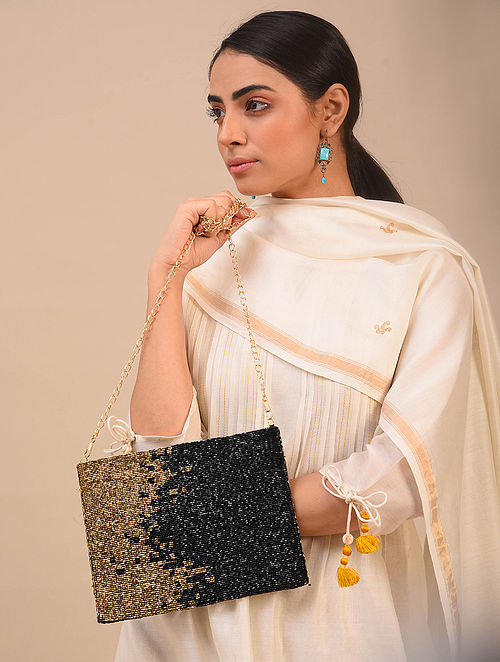 Black Gold Handcrafted Beaded Silk Clutch