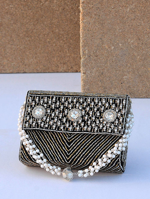 Black Handcrafted Beaded Velvet Clutch
