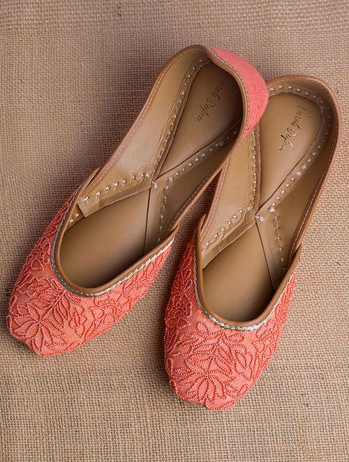 Orange Handcrafted Beaded Heavy Linen Juttis