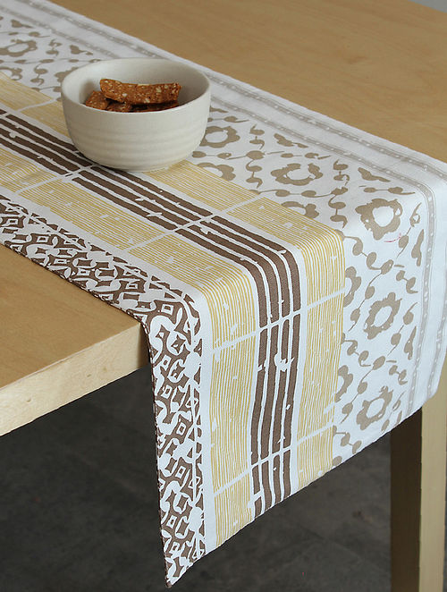 Beige Handcrafted Cotton Table Runners (72inX13in)
