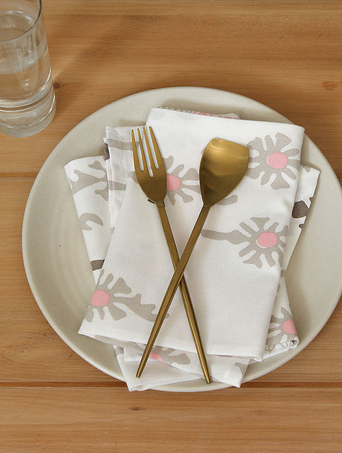 Pink Handcrafted Cotton Napkin (16inX16in)(Set of 2)