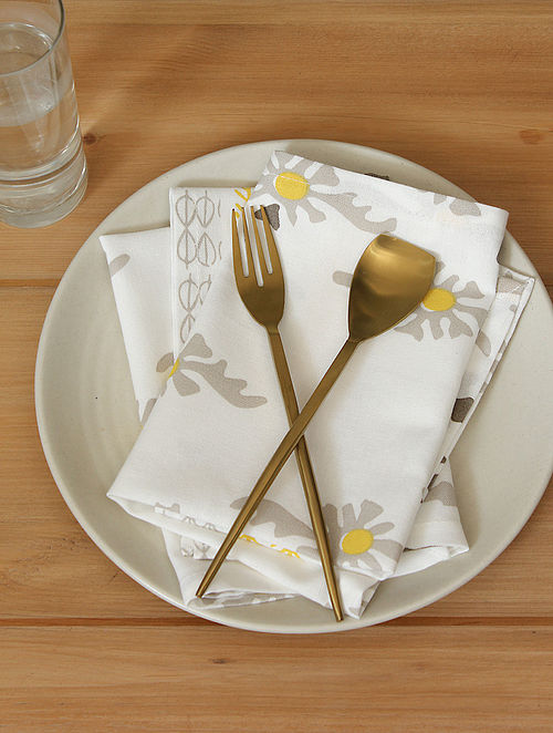 Yellow Handcrafted Cotton Napkin (16inX16in)(Set of 2)