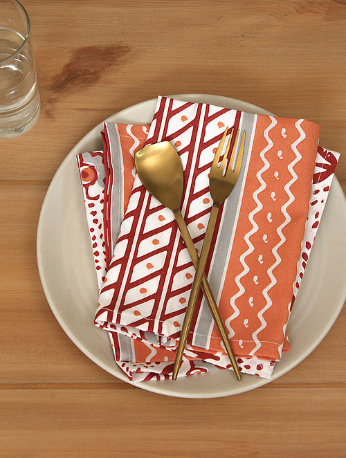 Red Handcrafted Cotton Napkin (16inX16in)(Set of 4)
