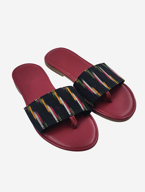 Black Handcrafted Ikat Faux Leather Flats