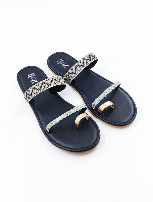Grey Black Handcrafted Genuine Leather Flats
