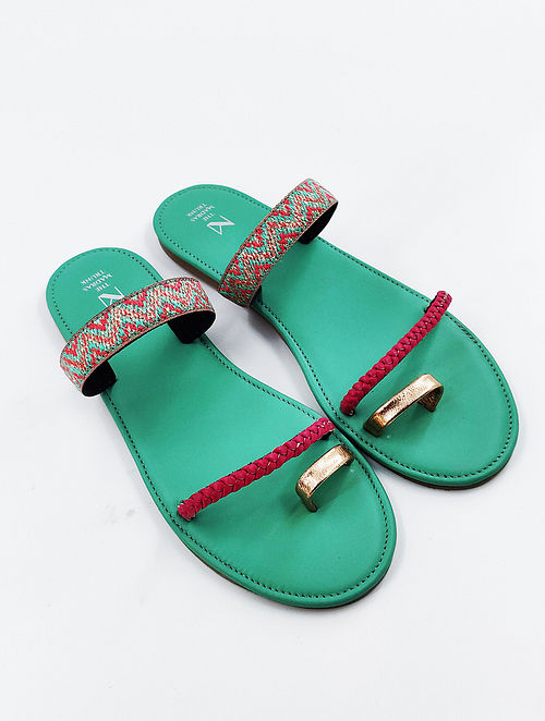 Pink Blue Handcrafted Genuine Leather Flats