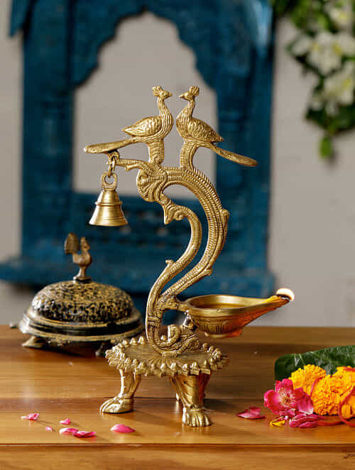 Antique Peacock Brass Lamp with Bell (11inX6in)