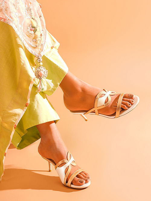 Ivory Gold Handcrafted Genuine Leather Pencil Heels