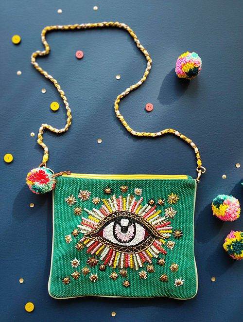 Multicolored Hand Embroidered Cotton Sling Bag