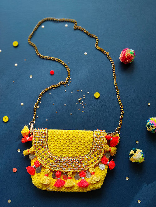 Yellow Hand Embroidered Cotton Sling Bag