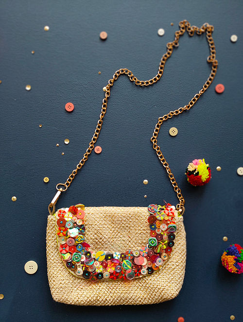Beige Hand Embroidered Cotton Sling Bag