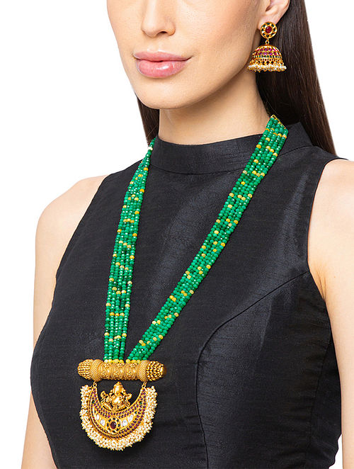 Green Yellow Gold Tone Temple Work Necklace And Jhumki Earrings With Agate