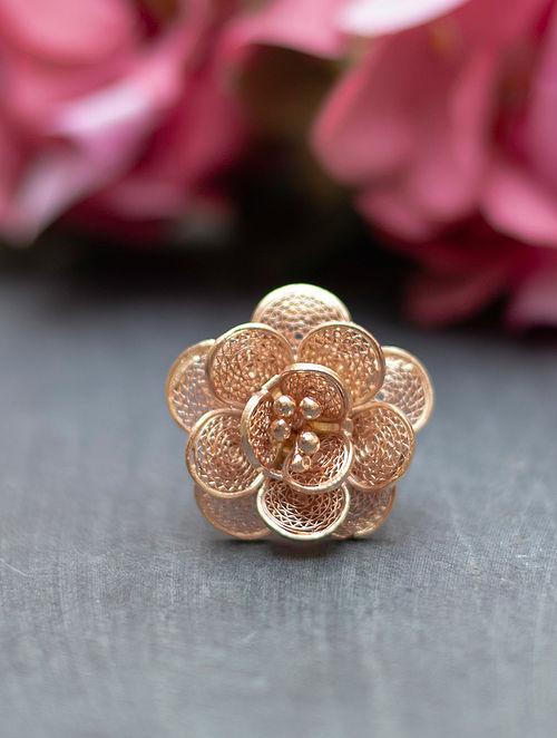 Rose Gold Filigree Silver Ring
