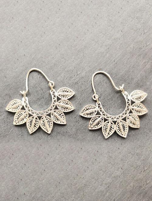 Filigree Silver Hoop Earrings