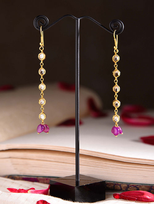 Gold Polki Earrings with Ruby