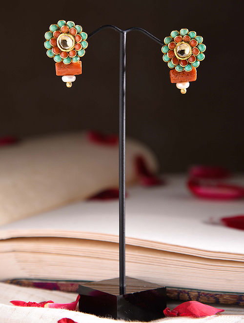 Gold Polki Earrings with Turquoise and Coral