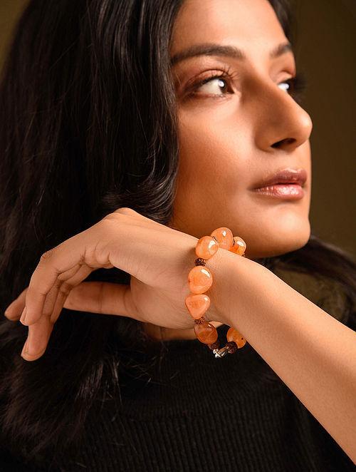 Orange Brown Carnelian Rudraksh Beaded Bracelet