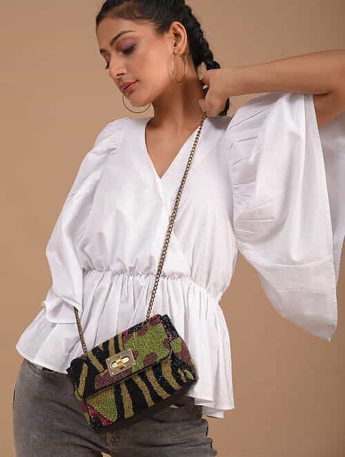 Multicolored Handcrafted Satin Sling Bag