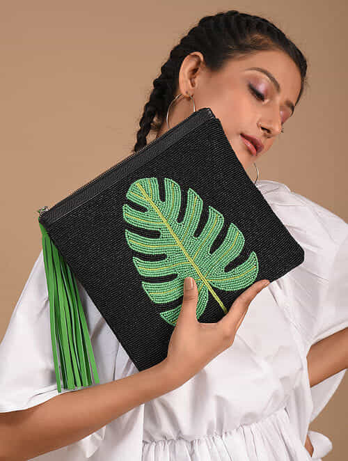 Black Green Handcrafted Vegan Leather Clutch