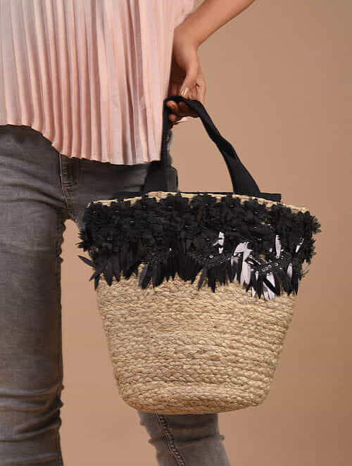 Beige Handcrafted Jute Tote Bag