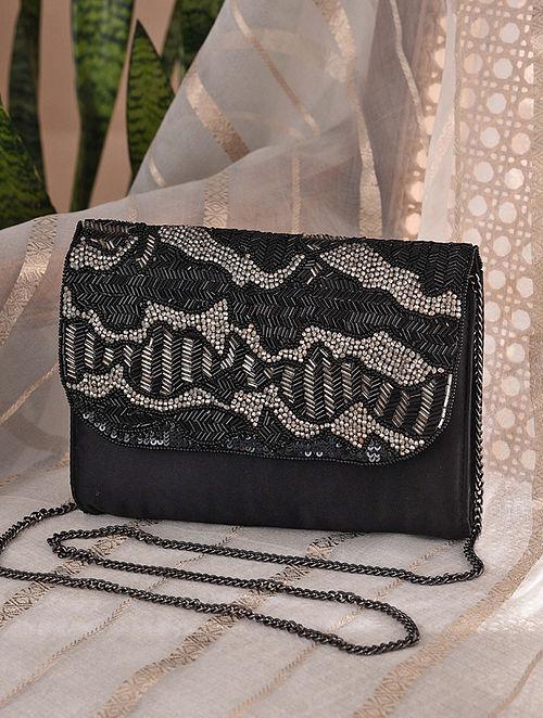 Black Handcrafted Velvet Clutch