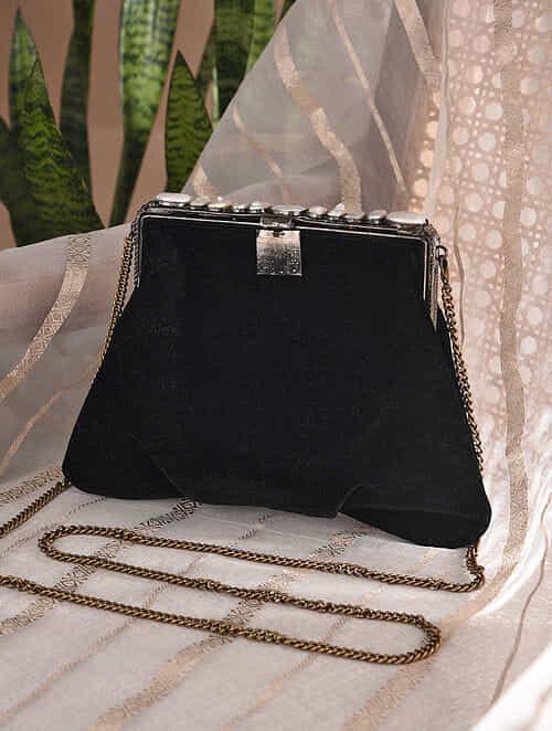 Black Handcrafted Velvet Batuwa Sling with Semi Precious Stones