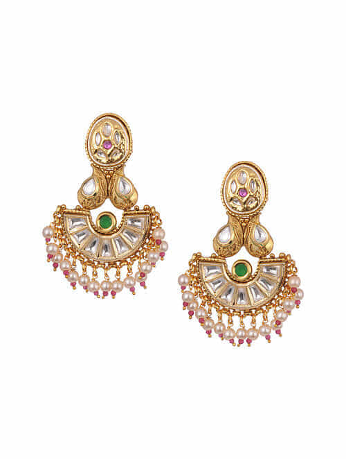 Pink Green Gold Tone Kundan Earrings With Pearls