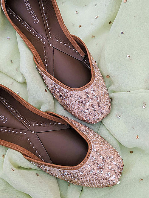 Rose Gold Hand Embroidered Genuine Leather Juttis
