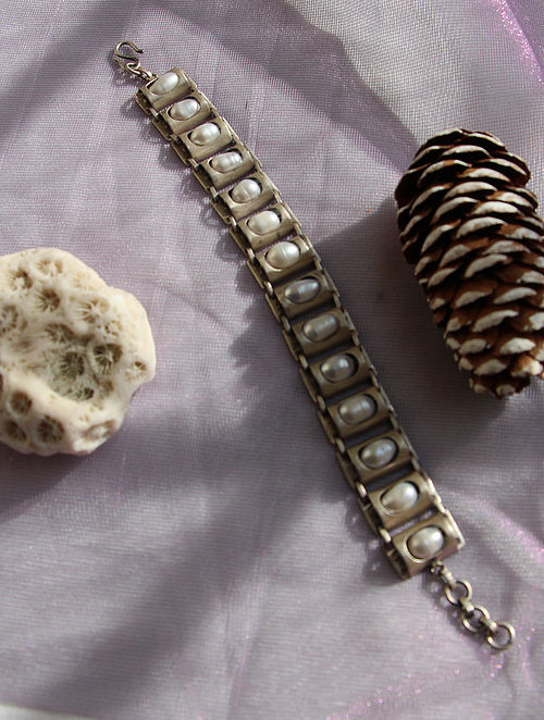 Tribal Silver Bracelet with Fresh water Pearls